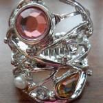 Abstract rhinestone stretch ring