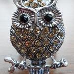 Owl stretch ring with yellow rhinestone $9.00