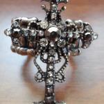 Silver & rhinestone incrusted cross stretch ring $9.00