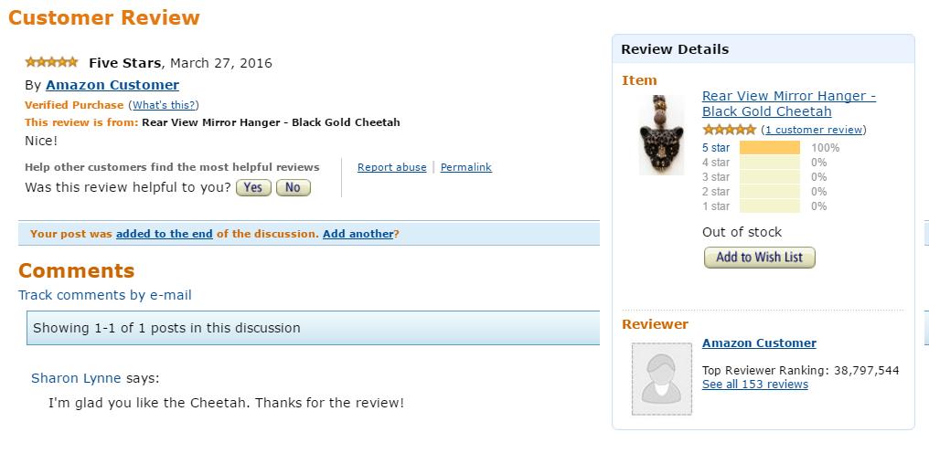 Black Cheetah Rear View Mirror Hanger Review