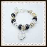 Black crystal heart bracelet $8.00
