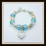 Blue crystal heart bracelet $10.00