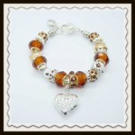 Brown crystal heart bracelet $10.00