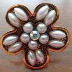 Gold, pearl & rhinestone flower stretch ring $9.00