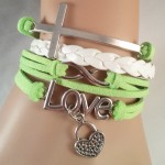 Green & white LOVE bracelet $8.00