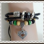 Leather bracelet with silver heart $5.00