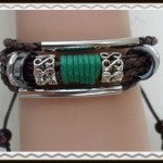 Lucky green leather bracelet $5.00