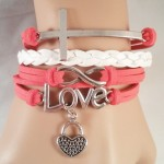 Pink & White Cross / Love Bracelet $8.00