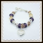 Purple crystal heart bracelet $10.00
