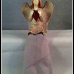 Purple angel holding red heart $7.99