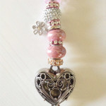 Pink beaded heart rear view mirror hanger $17.00 + Shipping