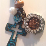 Indian penny cross rear view mirror hanger, car charm