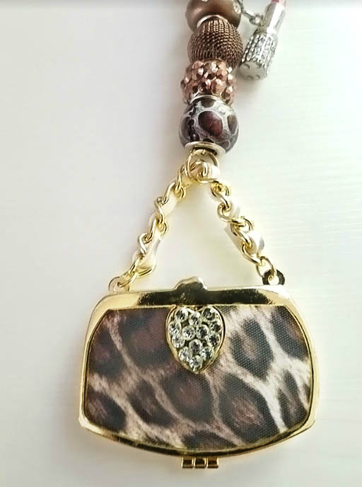Leopard Purse Rear View Mirror Hanger with Lipstick Dangly